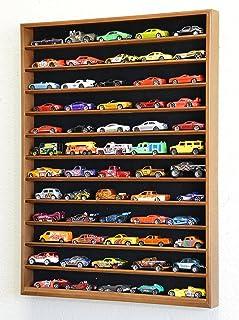 60 Hot Wheels Hotwheels Matchbox 1/64 Scale Diecast Model Cars Display Case - NO Door (Walnut Wood Finish)