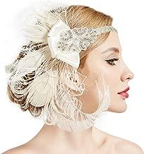 ArtiDeco Damen 1920s Stirnband Pfau Feder 20er Jahre Stil Flapper Haarband Inspiriert von Great Gatsby Damen Kostüm Accessoires