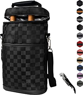 Insulated 2 Bottle Wine Carrier | Wine Tote Bag with Shoulder Strap, Padded Protection, Corkscrew Opener | Portable Wine Cooler Carrying Bag for Travel Picnic - Checker Black