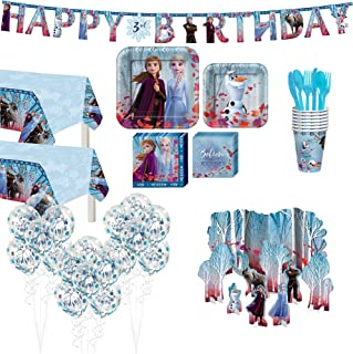 Party City Frozen 2 Tableware Supplies for 16 Guests, Includes Tableware, Banner, Decoration, and More
