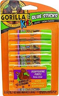 Gorilla 2614401 School Glue Sticks, 1-Pack, Disappearing Purple, 6 Piece