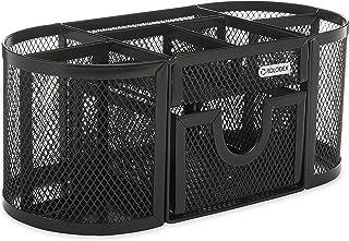 "Rolodex Mesh Pencil Cup Organizer, Four Compartments, Steel, 9 1/3""x4 1/2""x4"", Black (1746466)"