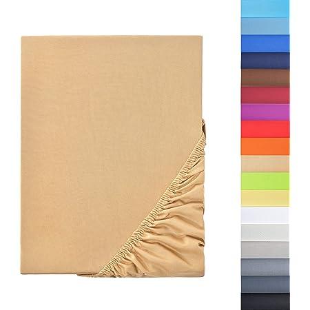 NatureMark - Drap Housse en Microfibre, Prix Spécial! Produit de Marque dans Différentes Tailles et Couleurs, 100% Polyester, Sable 120x200 cm