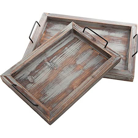 Amazon Com Mygift Rustic Torched Wood Rectangular Nesting Serving Trays With Twisted Rope Handles Set Of 2 Home Kitchen