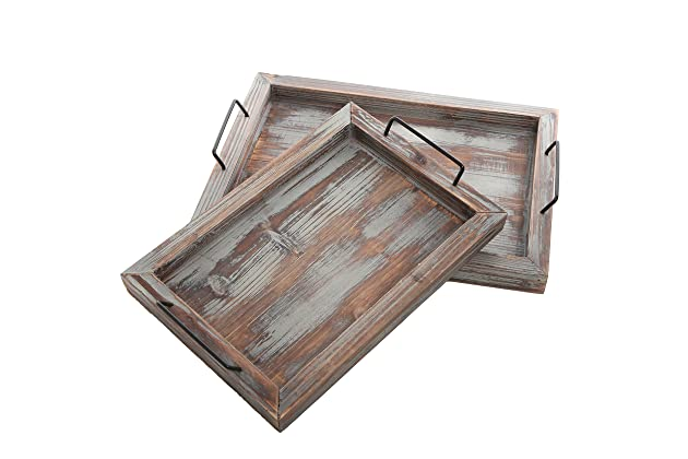 020700afab93 MyGift Set of 2 Country Rustic Whitewashed Brown Wood Finish Rectangular  Nesting Serving Trays w Metal Handles