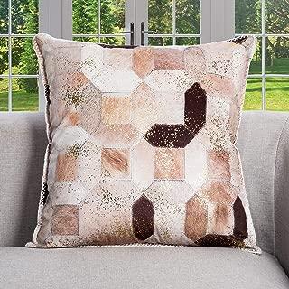 DECOMALL Luxury Faux Fur Leather Decorative Throw Pillow Cover Patchwork Geometric Print Designer Soft Pillow Case 20