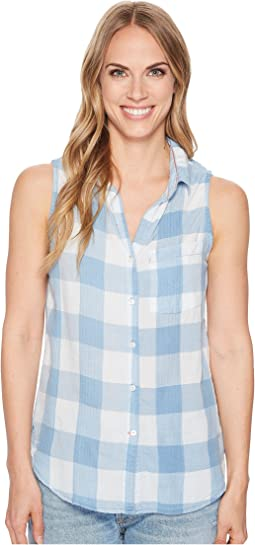 Chambray Buffalo Plaid Sleeveless One-Pocket Shirt