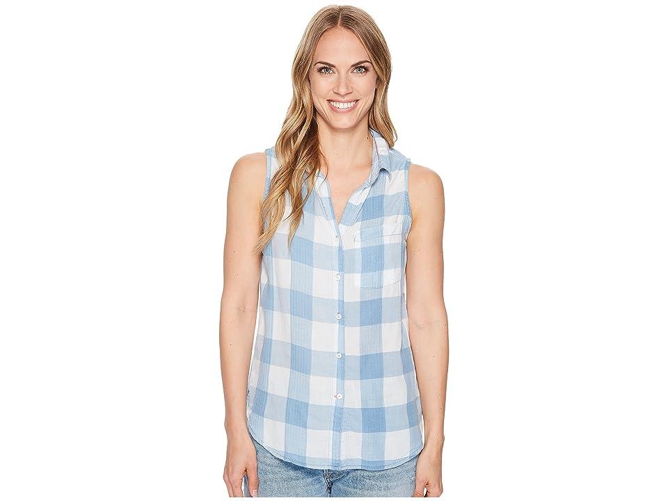 Dylan by True Grit Chambray Buffalo Plaid Sleeveless One-Pocket Shirt (Faded Chambray) Women