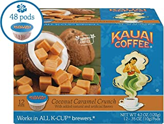 Kauai Coffee Single Serve Pods, Coconut Caramel Crunch Flavor – 100% Premium Arabica Coffee from Hawaii's Largest Coffee Grower, Compatible with Keurig K-Cup Brewers - 48 Count