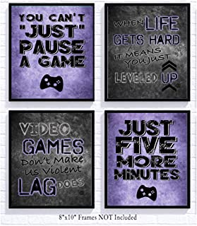 Video Game Themed Art Print Room Wall Decoration (Set or Four) Gamer (Purple)