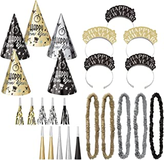 Amscan Midnight Party New Year's Party Kit for 10, Includes Cone Hats and Glitter Tiaras