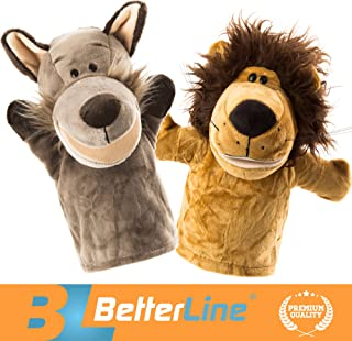 BETTERLINE Animal Hand Puppets Set of 2 Premium Quality, 9.5 Inches Soft Plush Hand Puppets for Kids- Perfect for Storytelling, Teaching, Preschool, Role-Play Toy Puppets (Lion and Wolf)