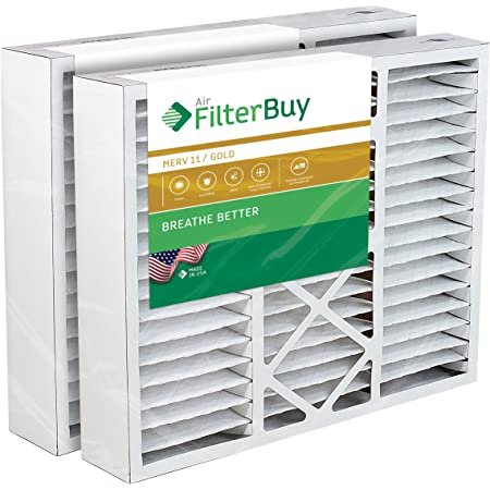 FilterBuy 20x25x5 Air Filter MERV 11, Pleated Replacement HVAC AC Furnace Filters for Honeywell, Carrier, Bryant, Day & Night, Lennox, and Payne (2-Pack, Gold)