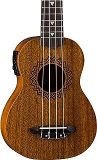 Luna Vintage Mahogany Acoustic/Electric Soprano Ukulele with Preamp, Satin Natural