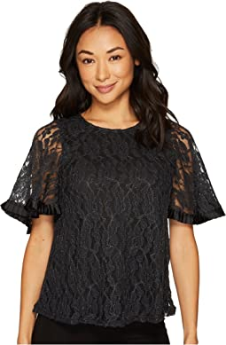Short Sleeve Lace Top w/ Pleat Trim