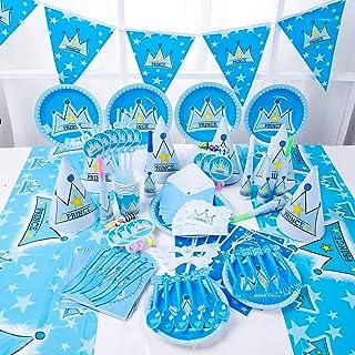 مجموعة 90 قطعة من أدوات المائدة أحادية الاستعمال للحفلات من جانب ولي الأمير، مجموعة من أغطية طاولة الكريسماس مناسبة للأطفال