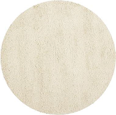 Tapis rond d'intérieur hirsute tissé , collection California Shag, SG151, en ivoire, 122 X 122 cm pour le salon, la chamb