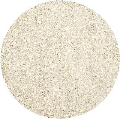 Tapis rond d'intérieur hirsute tissé , collection California Shag, SG151, en ivoire, 122 X 122 cm pour le salon, la chambre ou tout autre espace intérieur par SAFAVIEH.
