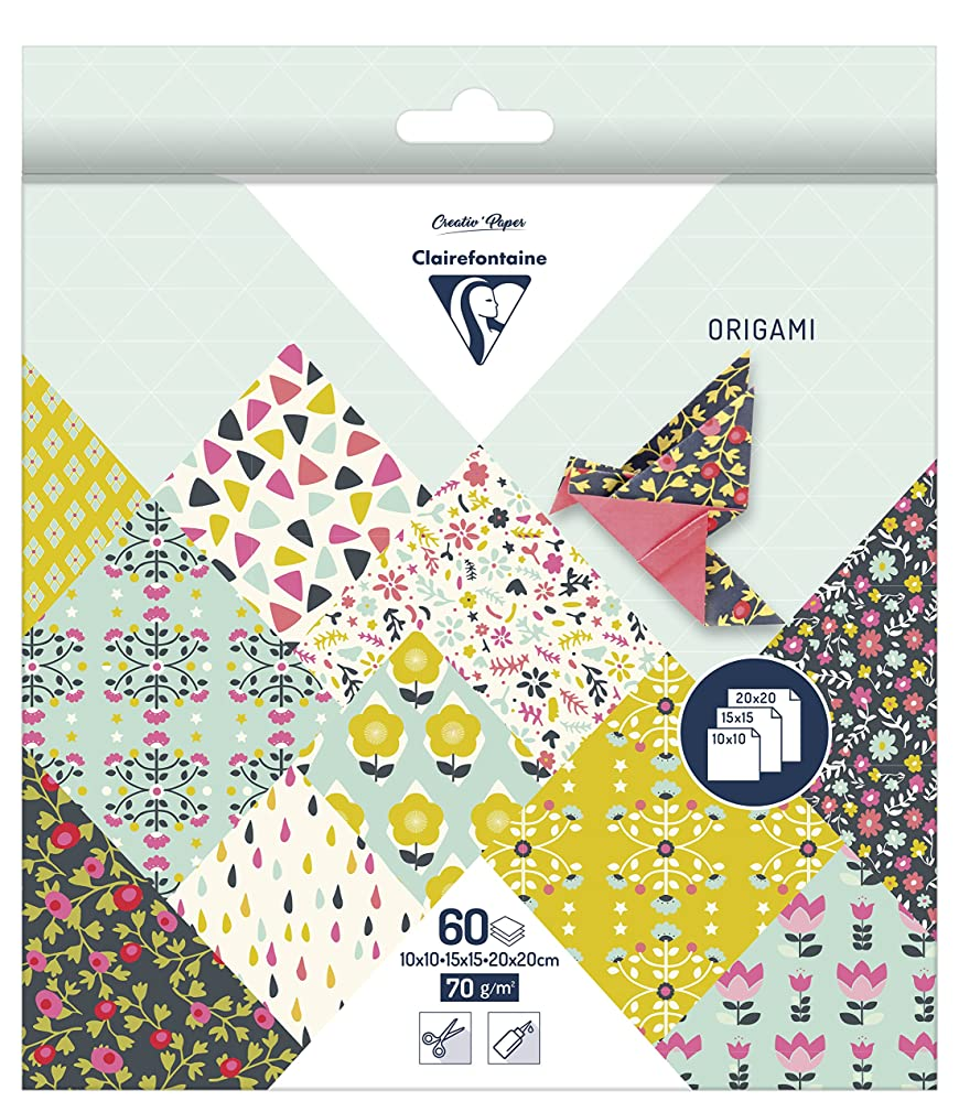 Clairefontaine Origami Paper, 70 GSM, 3 Sizes, Flowers, 60 Sheets