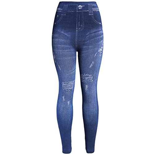 61e2b738 KMystic Women's Denim Print Fake Jeans Leggings