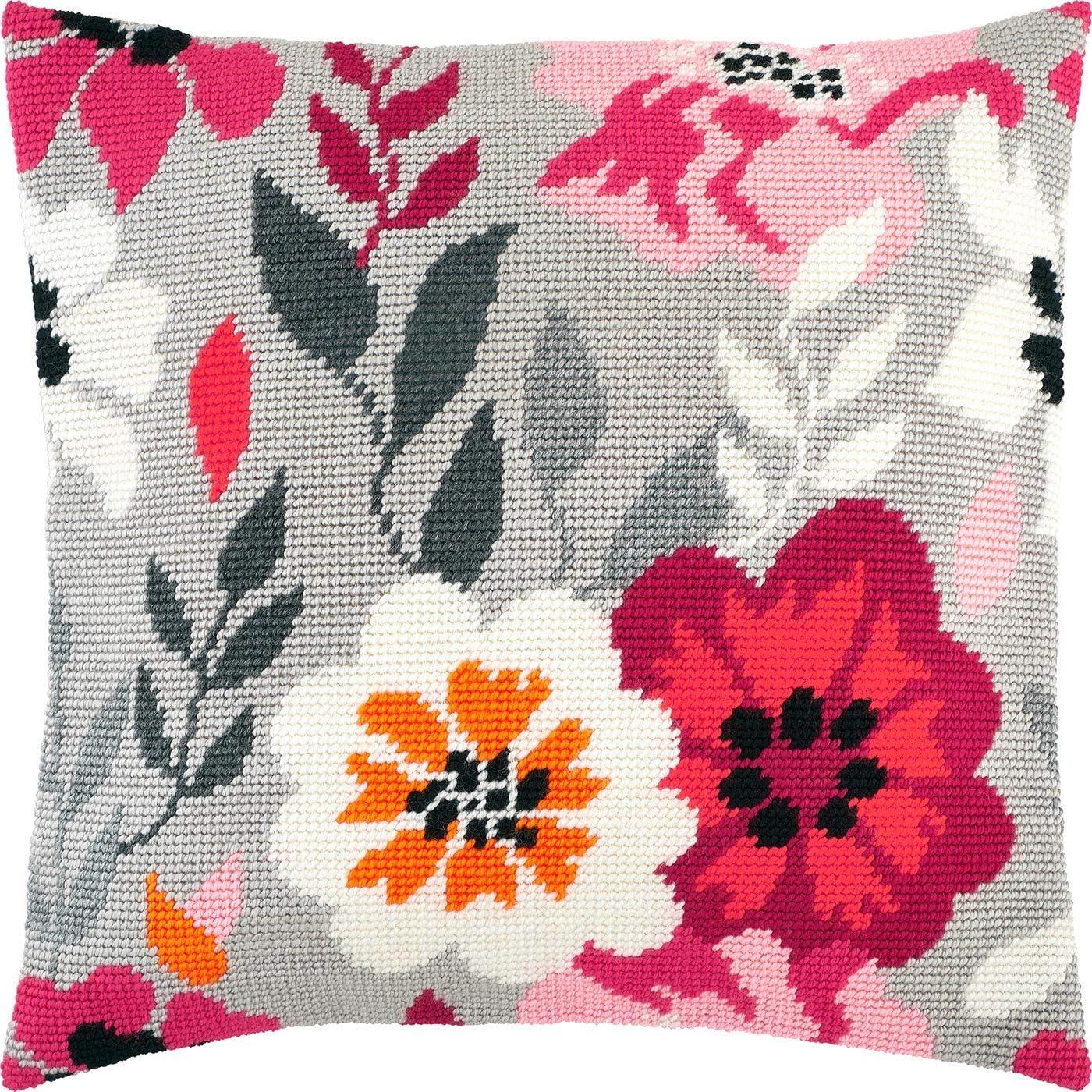 Pink Flowers. 返品送料無料 2020モデル Needlepoint Kit. Throw 16×16 Pillow Printe Inches.