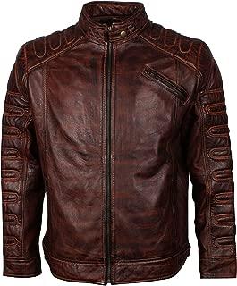 Men's Brown Waxed Italian Designer Brando Padded Leather Jacket