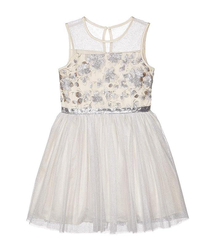BCBG Girls  Embroidered Mesh Metallic Dress (Big Kids) (Winter White) Girls Dress