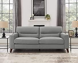 Hydeline Elm 100% Leather Set, Sofa, Silver Gray