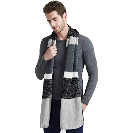 EINSKEY Mens Winter Wool Scarf,Unisex Fashion Cable Knit Cashmere Feel Scarf,Classic Color Block Striped Long Scarf