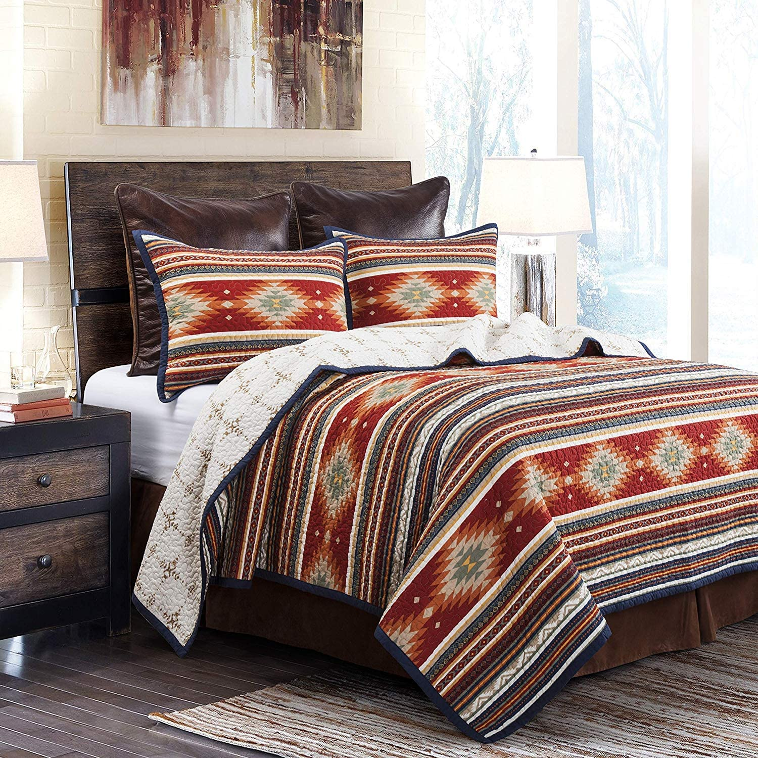 HiEnd Accents 3 PC Del Sol Reversible Japan Maker New Full Boston Mall Set Quilt Queen