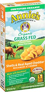 Annies Homegrown Organic Grass Fed Shells and Real Aged Cheddar Macaroni and Cheese, 6 Ounce - 12 per case.