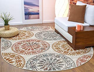 Antep Rugs Elite Collection Bohemian Geometric Circle Indoor Area Rug (Terra, 6'7'' x 9' Oval)