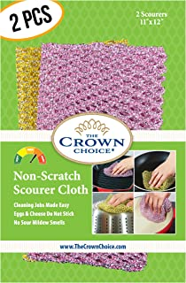 Non-Scratch HEAVY DUTY Scouring Pad or Pot Scrubber Pads (2PCs)   For Scouring Kitchen, Dishwashing, Cleaning   Nylon Mesh Scrubbing Scrubbies   Scrub Pads Cloth Outlast ANY Sponges