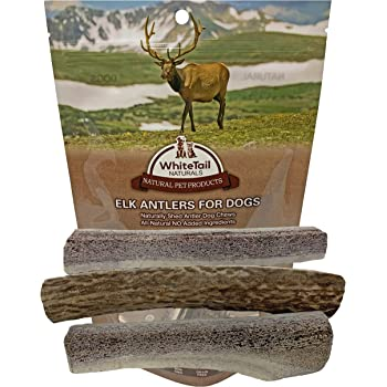 WhiteTail Naturals Premium Split Elk Antlers for Dogs | 3 Pack Small to Medium | Naturally Shed Antler Horn | 4 to 5 Inch Long | for Aggressive Chewers