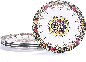 Bico Red Blue Leaf Ceramic 11 inch Dinner Plates Set of 4, for Pasta, Salad, Maincourse, Microwave & Dishwasher Safe