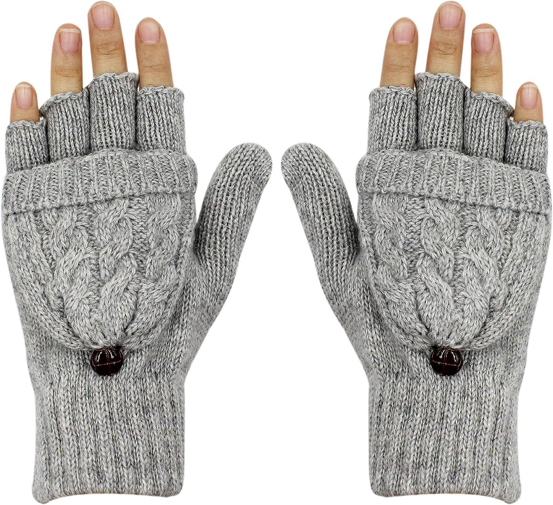 Women Winter Knitted Fingerless Gloves Warm Wool Convertible Gloves Cover Mitten