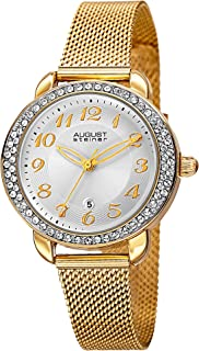 August Steiner Women's Crystal Bezel Dress Watch - Textured White Dial with Big Number Hour Markers on Yellow Gold Tone St...
