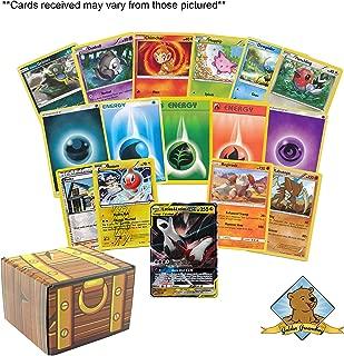 100 Pokemon Cards Featuring 1 Tag Team GX Rare - 5 Energy - 2 Foils - 2 Rares! Includes Golden Groundhog Treasure Chest Storage Box!