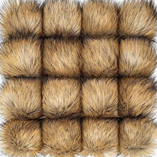 Tatuo Faux Fur Pom Pom Ball DIY Fur Pom Poms for Hats Shoes Scarves Bag Pompoms Keychain Charms Knitting Hat Accessories (Natural Color, 16)