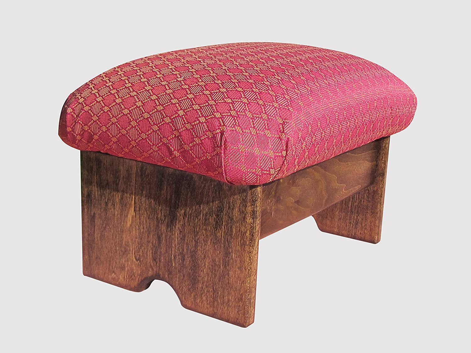 Padded Foot Stool, Ruby Red (Made in The USA) (Walnut Stain - 9  Tall)