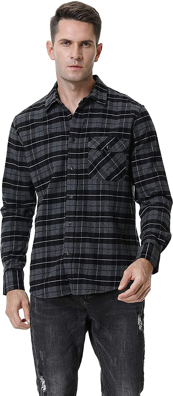 Mens Button Down Shirts Regular Fit Long Sleeve Casual Cotton Plaid Flannel Shirt