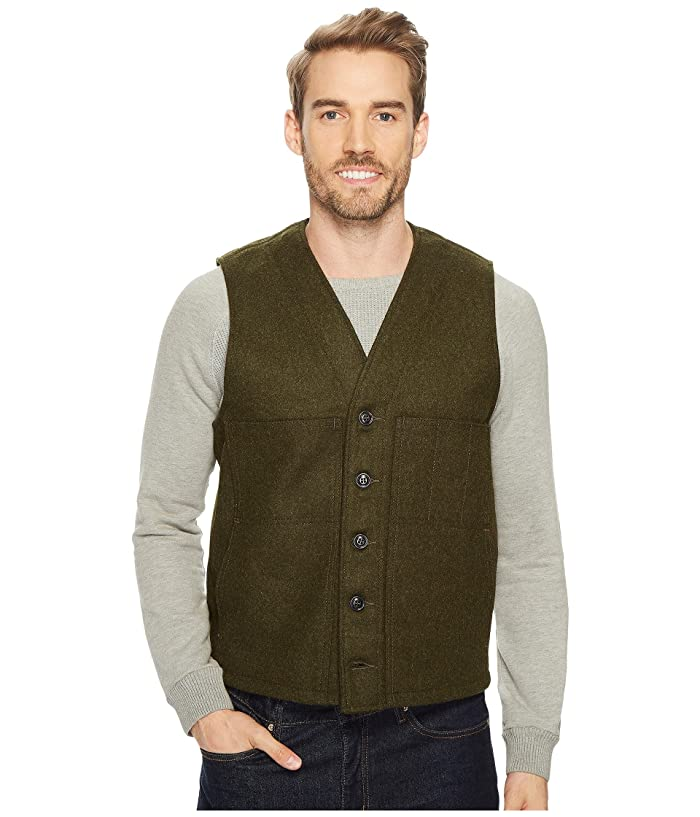 1910s Men's Working Class Clothing Filson Mackinaw Wool Vest Forest Green Mens Vest $150.00 AT vintagedancer.com