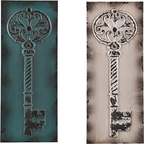 拉特纳复古钥匙装饰墙板一套 2 个悬挂艺术装饰