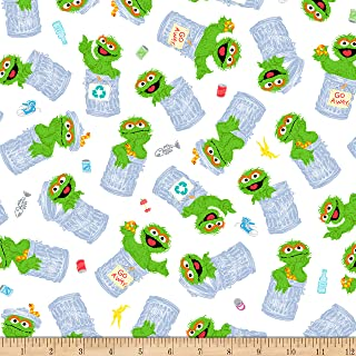 EXCLUSIVE Sesame Street Digital Tossed Oscar, White, Fabric by the Yard