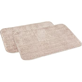 Amazon Brand - Solimo Anti-Slip Microfibre Bathmat, 40cm x 60cm - Pack of 2 (Beige)