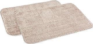 Amazon Brand - Solimo Anti-Slip Microfibre Bathmat, 40cm x 60cm - Pack of 2 (Beige)