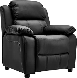 JC Home BT-8000 Kids Deluxe Padded Leather Recliner with Storage Arms, Black