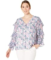 Plus Size Tiered Ruffle Long Sleeve Charming Floral Blouse