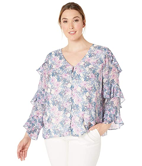 c6ff17f48aee1a Vince Camuto Specialty Size Plus Size Tiered Ruffle Long Sleeve Charming Floral  Blouse