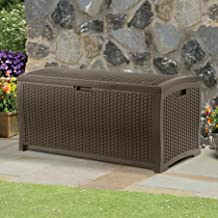 Suncast 99 Gallon Resin Wicker Patio Storage Box - Water Resistant Outdoor Storage Container for Toys, Furniture, Yard Tools - Store Items on Deck, Porch, Backyard - Mocha